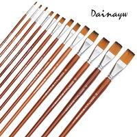 13Pcs Set Long Handle Nylon Hair Oil Paint Brush Flat Shape Paint Brushes Artist For Oil