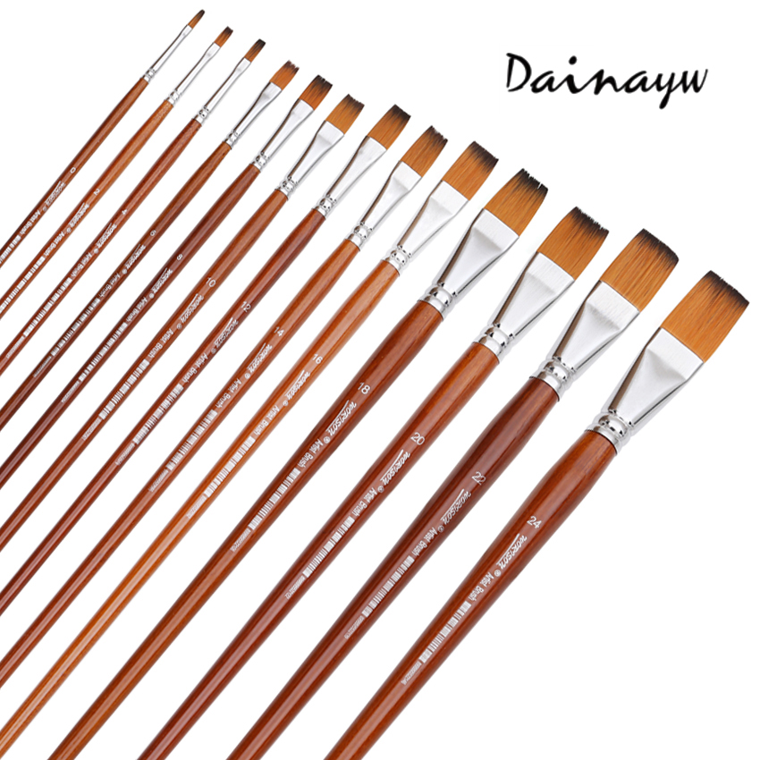 13Pcs/set Long Handle Nylon Hair Oil Paint Brush Flat Shape Paint Brushes Artist For Oil Watercolor Acrylic Painting