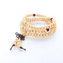 108*6mm Wood Beads Bow Bracelets Natural Sandalwood Buddhist Buddha Meditation for Women Men Prayer Rosary