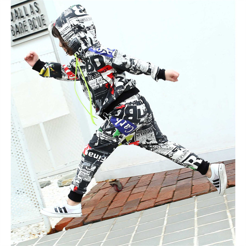 Fashion Boys Hip Hop Outfit Kids Street Dance Hoodies +Pants Sport Suits  Print Clothing Set Soft Cotton Suit Size 110-160 cm