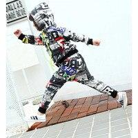 Meninos moda Roupa Dos Miúdos Hoodies + Calças de Dança de Rua do Hip Hop Ternos do esporte Conjunto de Roupas de Impressão Terno de Algodão Macio Tamanho 110-160 cm