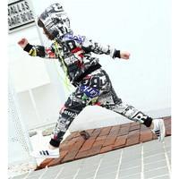 Fashion Boys Hip Hop Outfit Kids Street Dance Hoodies Pants Sport Suits Print Clothing Set Soft