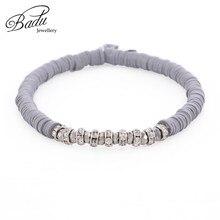 Badu Gray Polymer Clay Beaded Bracelet Women Vintage Style Rhinestone Beads Bracelets for Girls Wholesale Dropshipping