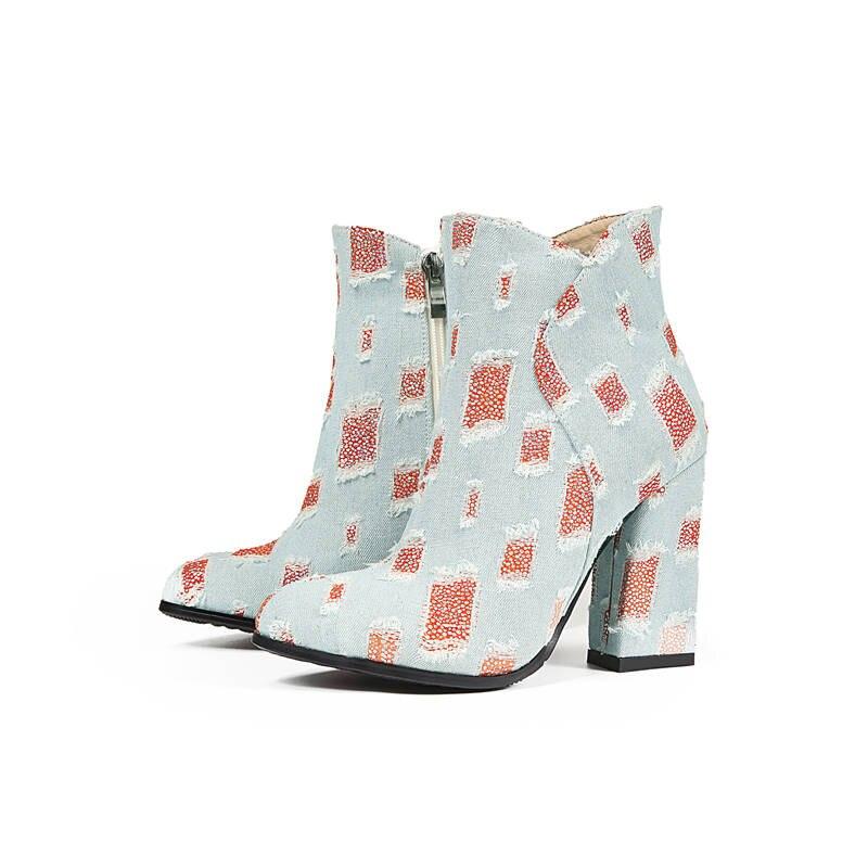 Mélangées Ciel Mode Pointu Zipper Couleurs Chaussures 2018 Haute Cheville Bottes Automne Pu Femmes Simple Denim Bout Talons Morazora Nouveau rouge Populaire rdCtshQx