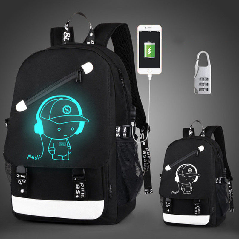 Anti-thief Children School Bags Boy Girl Anime Luminous School Backpack Teenager Schoolbag Waterproof Kids Bag USB Charging Port