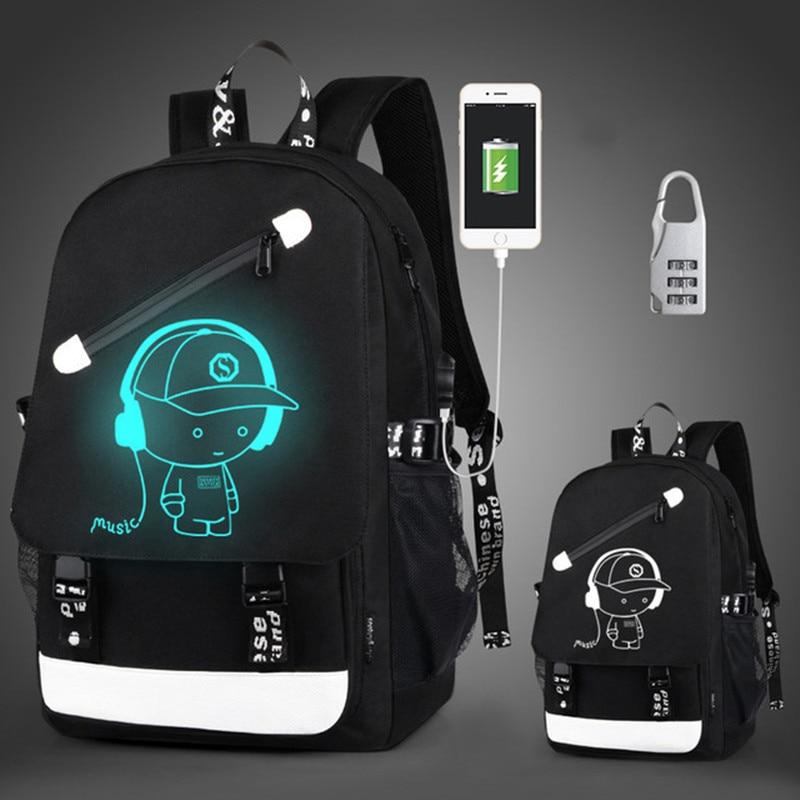 Anti-thief bolsas escolares para niños, mochila luminosa de Anime para adolescentes, mochila impermeable para niños, puerto de carga USB