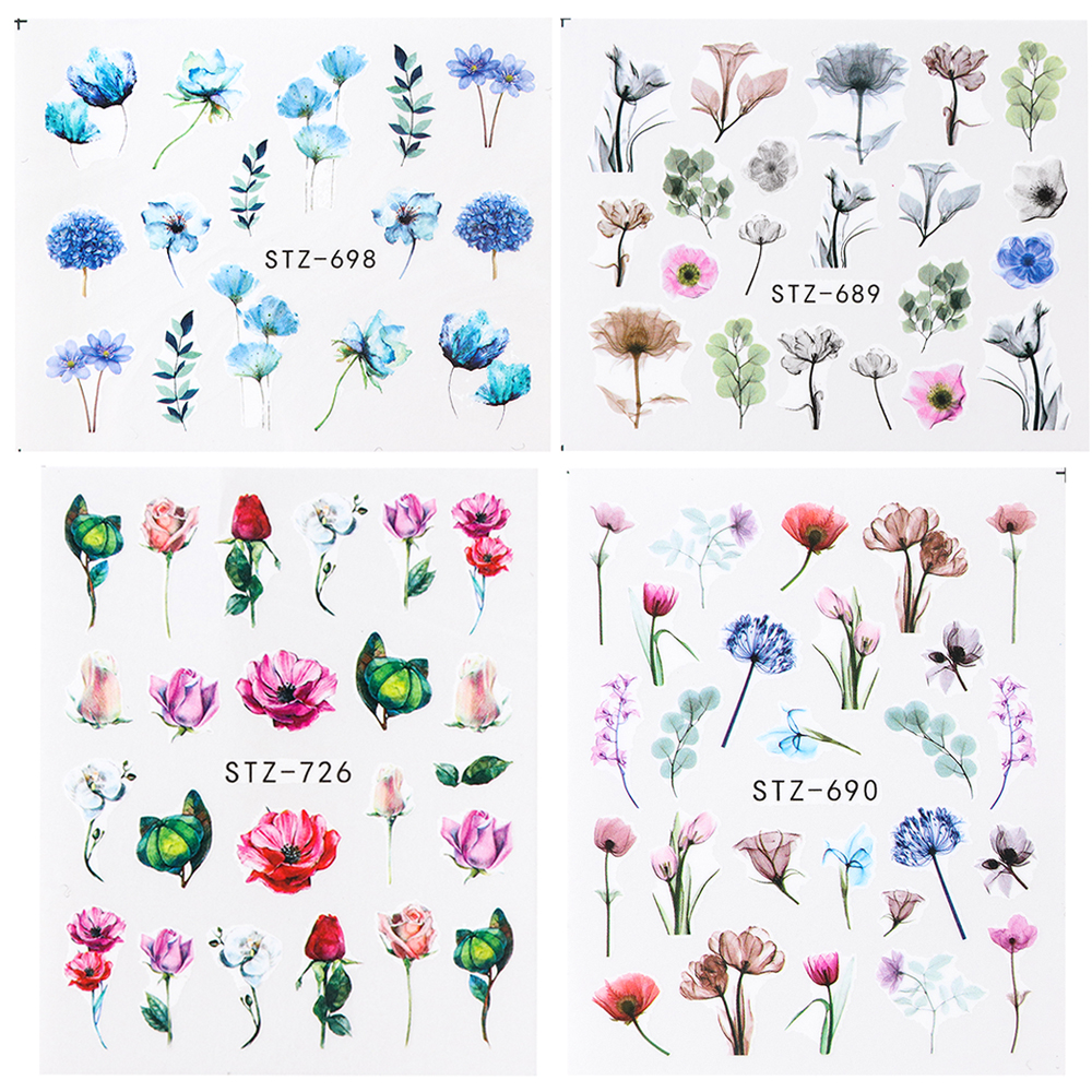 Image 5 - 1pcs Floral Slider Water Stickers Decal For Nail Art Transfer Tattoo Flamingo Leaf Gel Manicure Adhesive Decor Tip CHSTZ508 706-in Stickers & Decals from Beauty & Health
