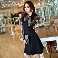 original 2 pieces set dress 2017 new autumn slim fashion temperament black lace dresses women