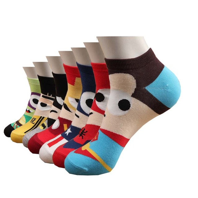 Homem meias de algodão quente preto superman spiderman arte colorida primavera verão engraçado dos desenhos animados meias meias curtas dos homens presentes para homens