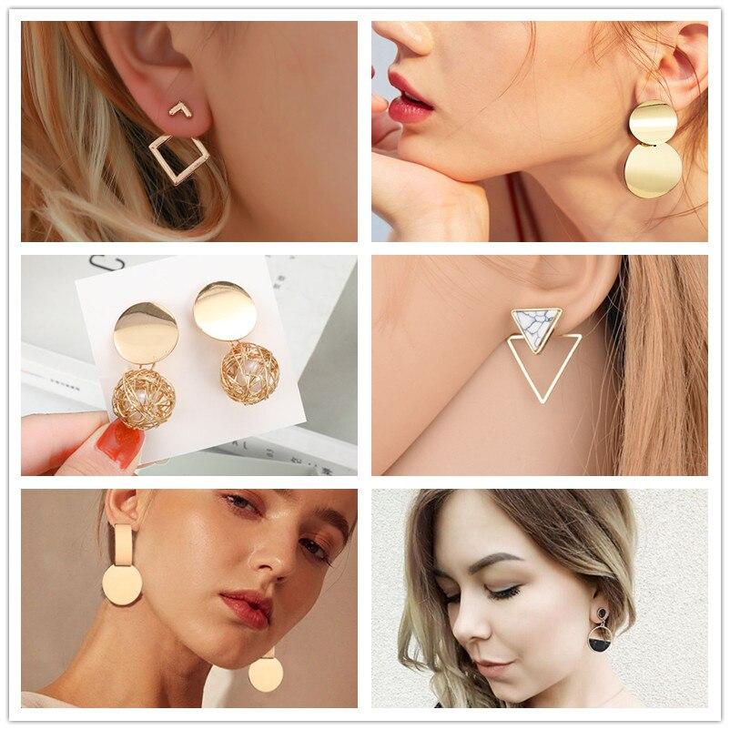 Trendy Earrings For Women Gold Unique Metal Drop Dangle Vintage Statement Earrings Round Geometric Earring 2019 Fashion Jewelry