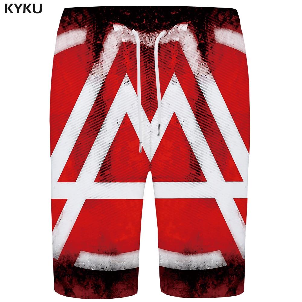 KYKU Linkin Park   Board     Shorts   Men Red   Short   Pants Quick Silver Gothic Geometry 3d Printed Boardshorts Phantom Beach Mens   Shorts