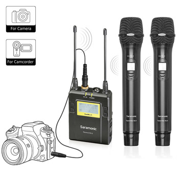 Saramonic UwMic9 96-Channel UHF Wireless Lavalier Microphone System Two Handheld Microphone and One Receiver for DSLR & Camcorde