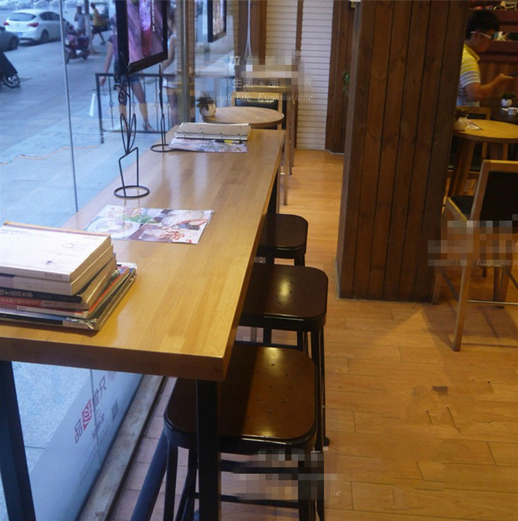 American Fashion Wrought Iron Wood Long Table Restaurant Table - Long cafe table