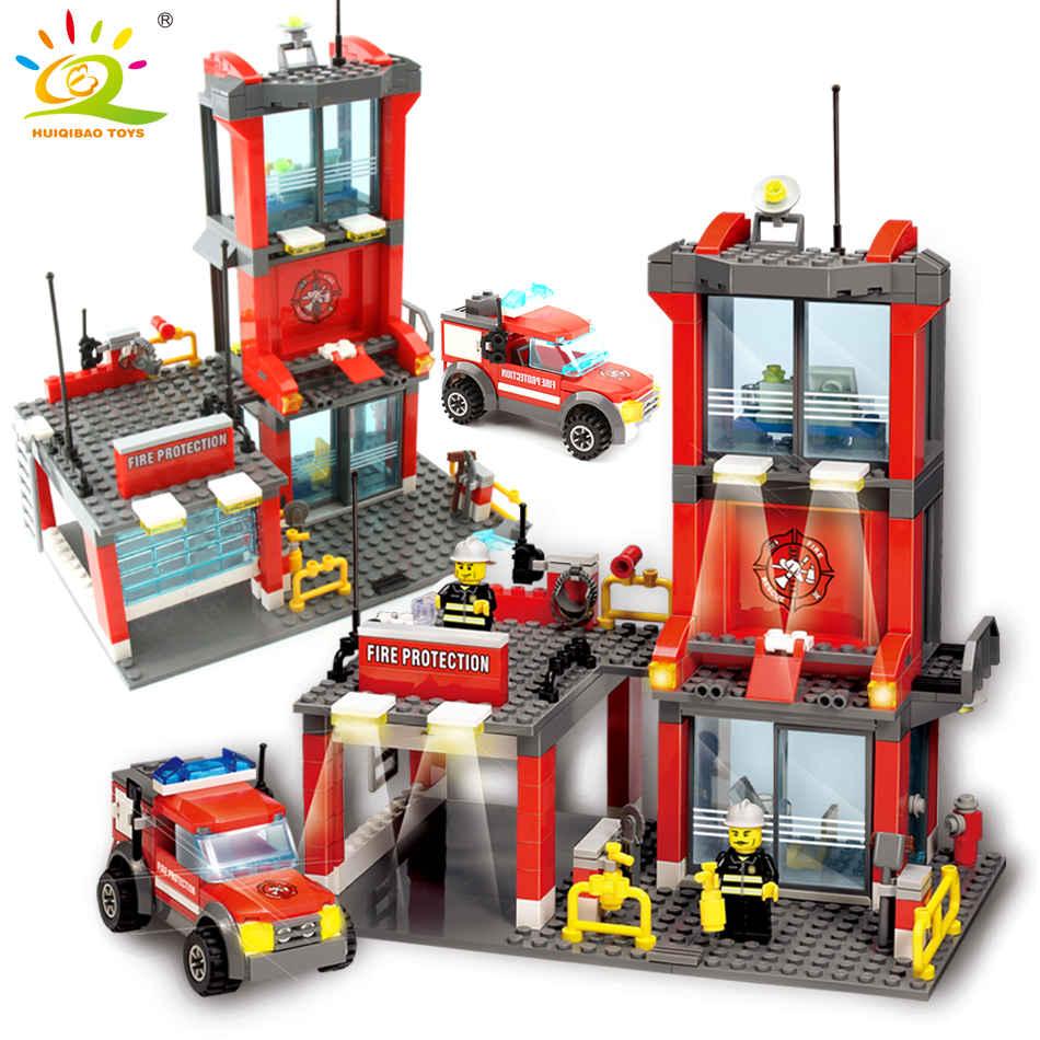300 unids City Fire Station set Bloques de construcción Bombero figura Compatible legoing city Truck Enlighten Ladrillos Juguetes para niños