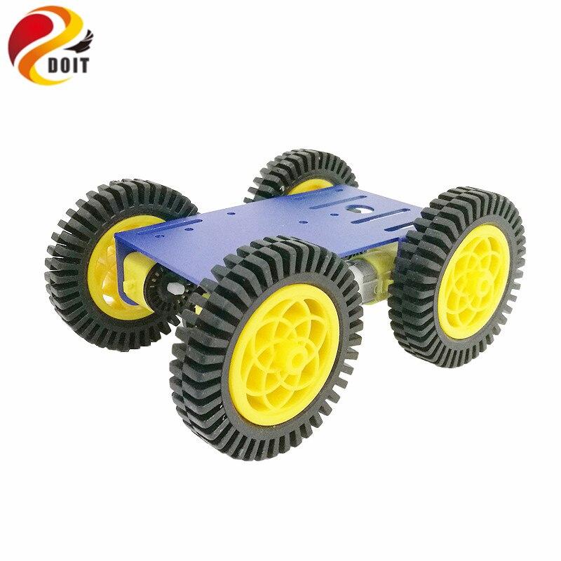 Robot inteligente RC Kit de coche con 2mm de chasis de aluminio 4 Uds TT Motor 4 Uds 80 rueda de goma de mm para proyecto Arduino RC coche Control remoto coche rebote 2,4G coche saltador con rotación de rueda Flexible LED luces nocturnas RC Robot coche para juguete de regalo para niño