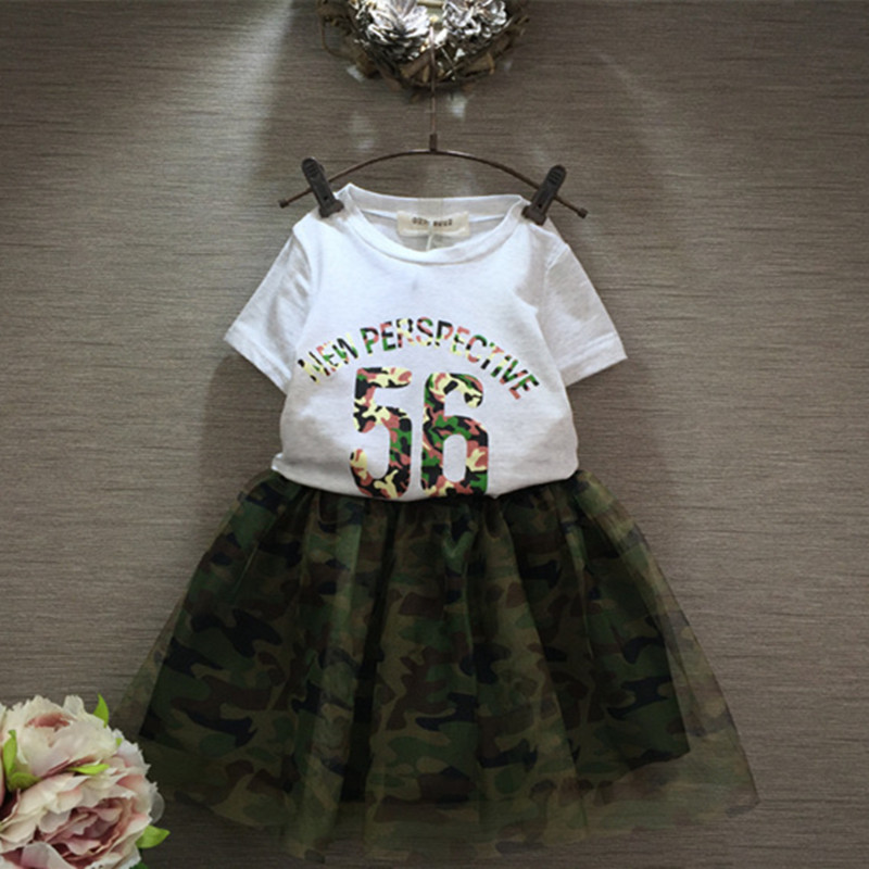 New brans girls summer clothes set number and letter printed shirt with Army Green skirt suit for baby kids clothing sets retail