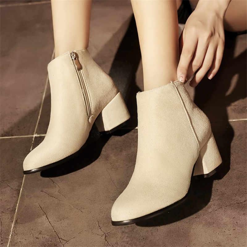 Plus ขนาด 34-45 รองเท้าผู้หญิงรองเท้าส้นสูงข้อเท้ารองเท้าสั้น Plush รอบ Toe รถจักรยานยนต์รองเท้าแฟชั่นเซ็กซี่ฤดูหนาว snow Boots รองเท้า