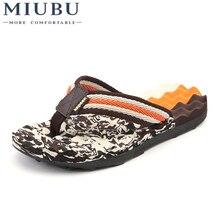 купить MIUBU Summer Brand Men Flip Flops Printing EVA Ribbon Non-Slip Soft Slides Slippers Casual Playa Tongs Sandals Beach Shoes дешево