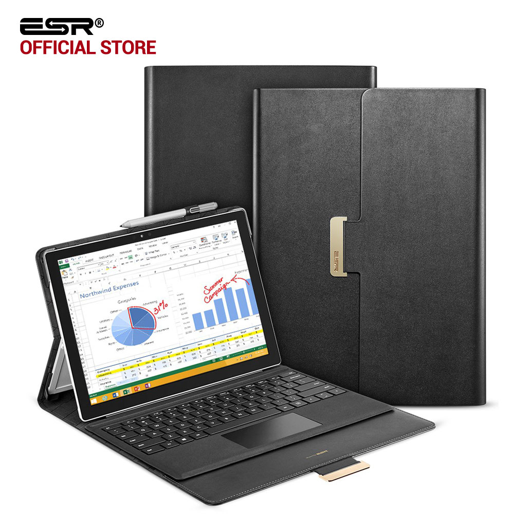 цена на Case for Surface Pro 4,ESR Business style PU Leather Foldable Laptop Holder Folio Stand Case for Surface New pro 5 2017 Notebook