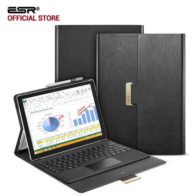 Funda para Surface Pro 4, ESR estilo empresarial PU cuero plegable portátil soporte Folio Stand funda para superficie nuevo pro 5 2017 Notebook