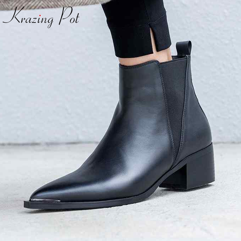 Krazing Pot new genuine leather nude shoes square med heels European pointed toe women fashion keep warm Chelsea ankle boots L00