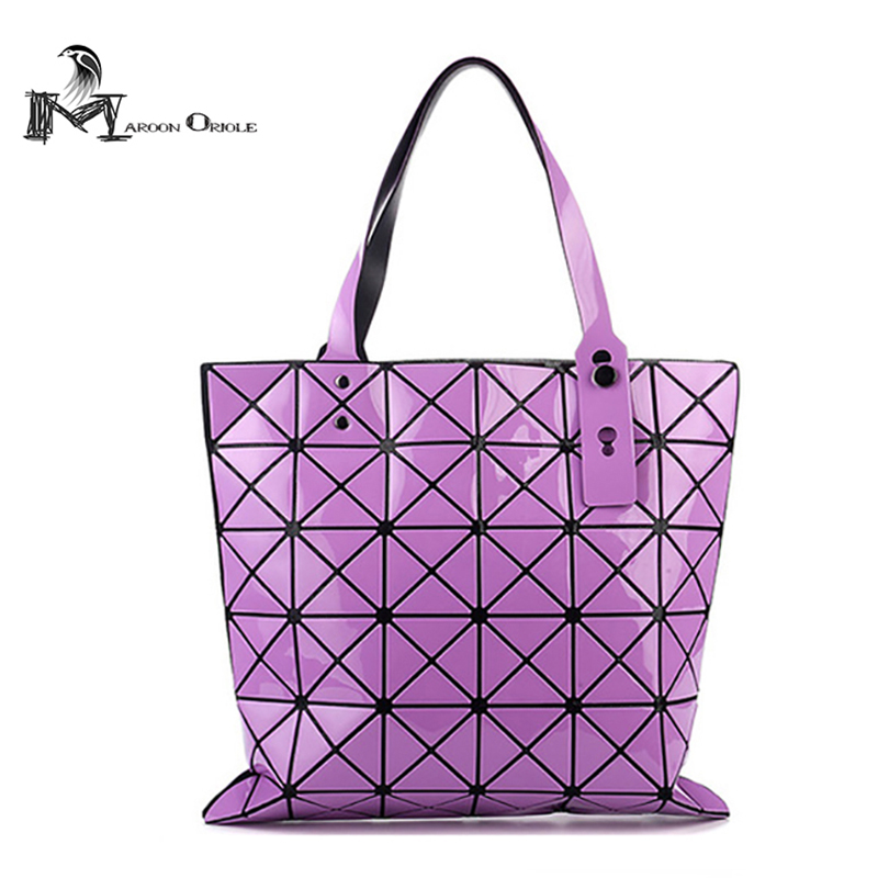 Fashion lattic laser geometric tote beach bag silver hologram laser women casual tote shoulder bag