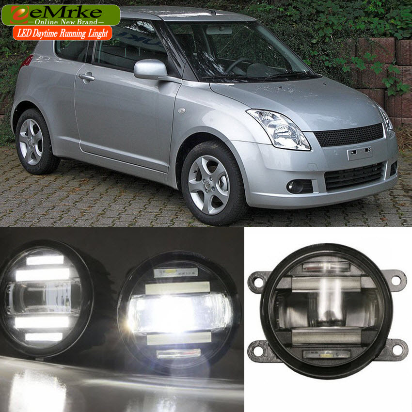 eeMrke Xenon White High Power 2in1 LED DRL Projector Fog Lamp With Lens For Suzuki Swift 2002-2016 eemrke xenon white high power 2in1 led drl projector fog lamp with lens for suzuki sx4 2008 2016