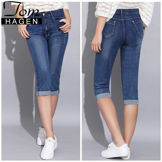 Tom Hagen 2019 Mùa Hè Skinny Jeans Quần Phụ Nữ Với Cao Eo Jeans Phụ Nữ Cộng Với Kích Thước của Phụ Nữ Denim Nữ Căng chiều Dài đầu gối