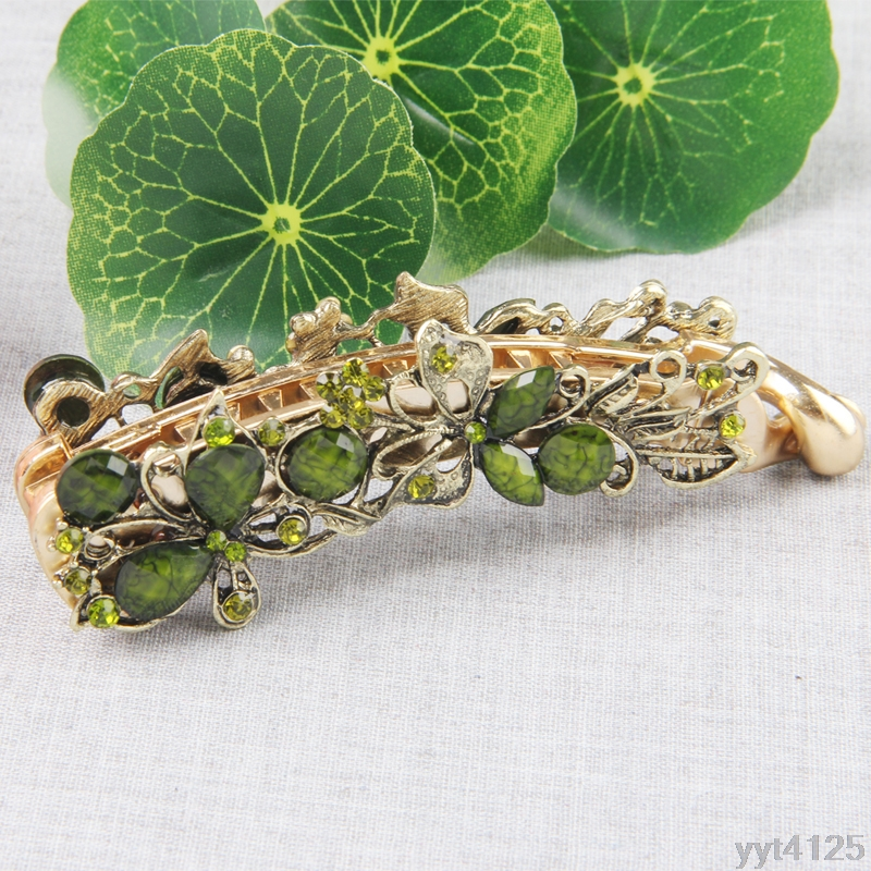 Vintage Women Banana Hair Clip Claw Holder Butterfly Resin Hairpin Ponytail