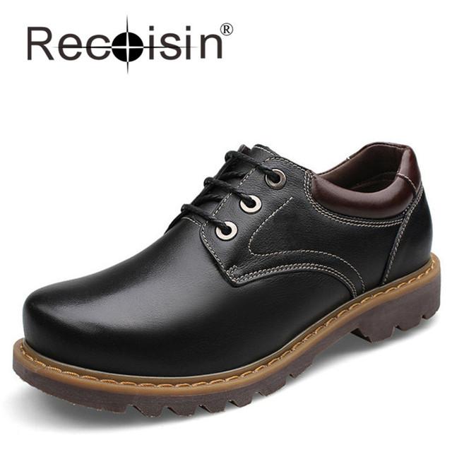 RECOISIN Plus Size 37 ~ 47 Couro Genuíno Homens Botas Hombre Botas Primavera Outono Ankle Boots Do Vintage Sapatos de Segurança do Trabalho Qualidade superior