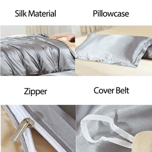 Image 5 - HOT! Satin Silk Bedding Set Home Textile King Size Bed Set Bed Clothes Duvet Cover Flat Sheet Pillowcases Wholesale
