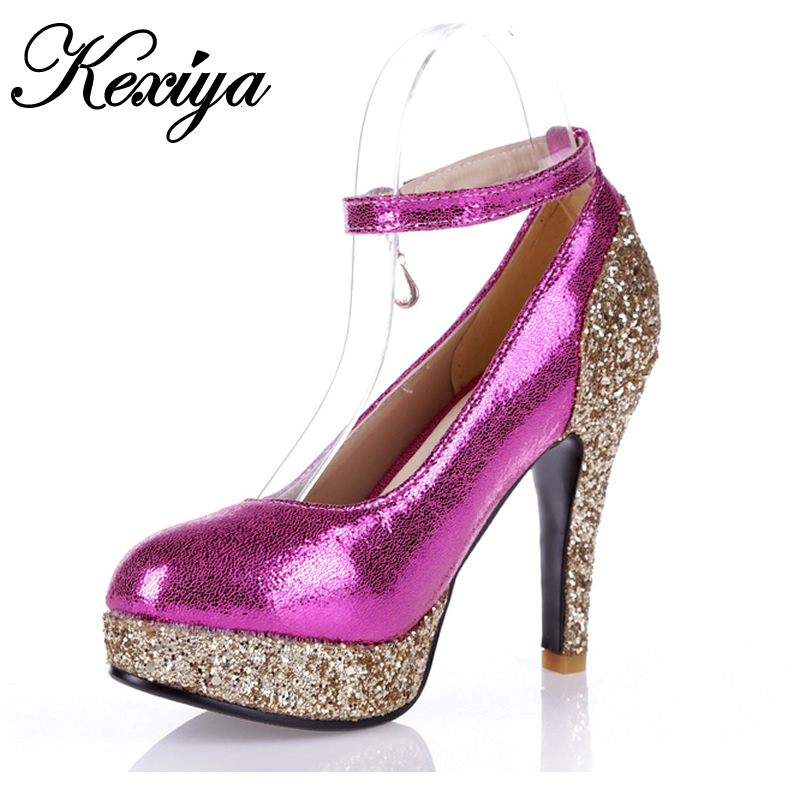 Hot sale! Big size 31-52 Fashion  sweet style women shoes Color matching sequins Ultra high with High heels HQW-6111 hot sale halter beading sequins short homecoming dress