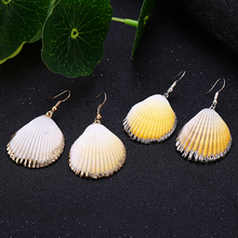 HOCOLE New Natural Cowrie Shell Earrings For Women Girls 2019 Geometric Drop Korean Female Jewelry Wholesale