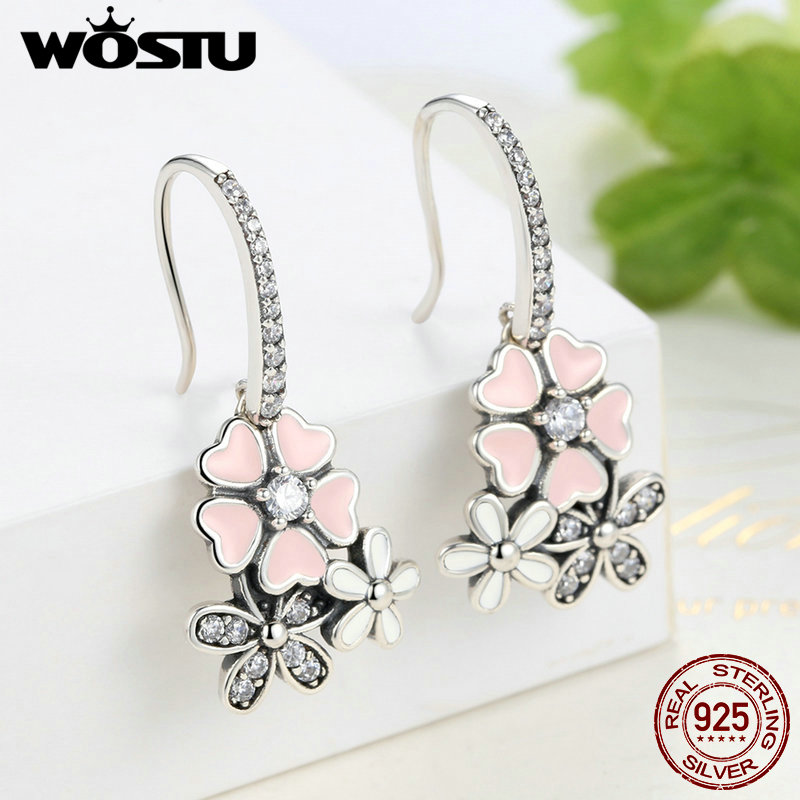 High Quality 925 Sterling Silver Poetic Daisy Cherry Blossom Drop Earrings For Women Luxury Original Fine Jewelry Gift CQE016 3