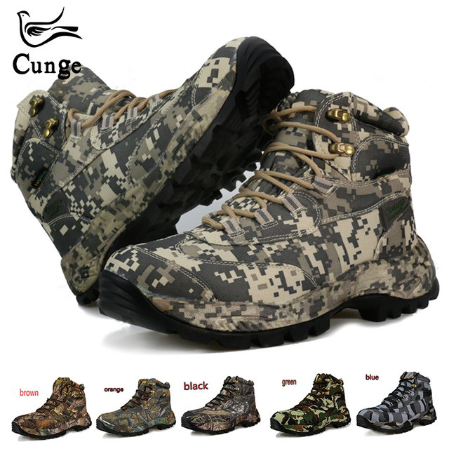 CUNGE men High-Cut Hiking Boots Waterproof hunting fishing climbing Genuine nylon Mountain Boots  Non-slip wearproof men boots