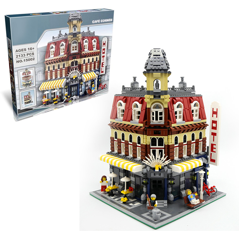 Lepin 15002 Cafe Corner building bricks blocks Toys for children boys Game Model Car Gift Compatible with Bela 10182 hot sembo block compatible lepin architecture city building blocks led light bricks apple flagship store toys for children gift
