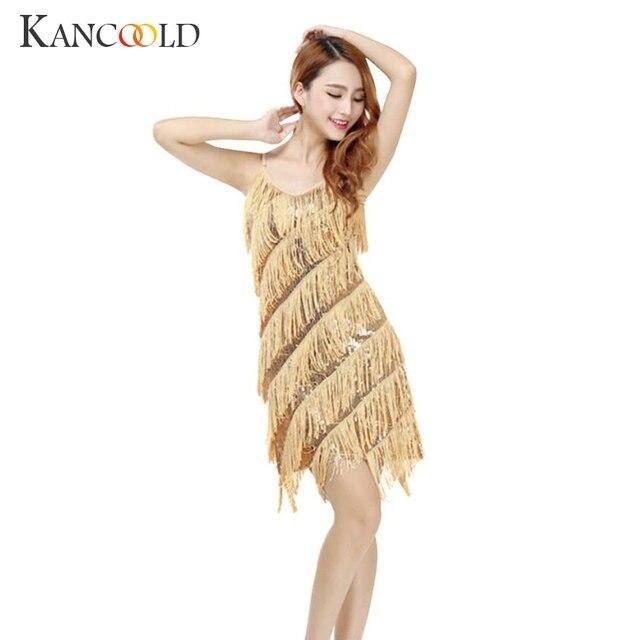 e64dba1e7c9 KANCOOLD Mulher vestido Melindrosa Franja Ouro Do Vintage Grande Gatsby  Jan1 Lantejoula Partido Deslizamento Vestidos sexy