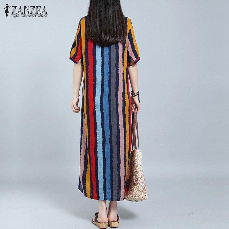Sommer Mode Frauen Maxi Langes Kleid ZANZEA Beiläufige Gestreifte - Damenbekleidung - Foto 5