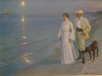 Portrait Painting Woman High quality Summer evening on Skagen's beach by Peter Severin Kroyer oil painting on canvas Handpainted