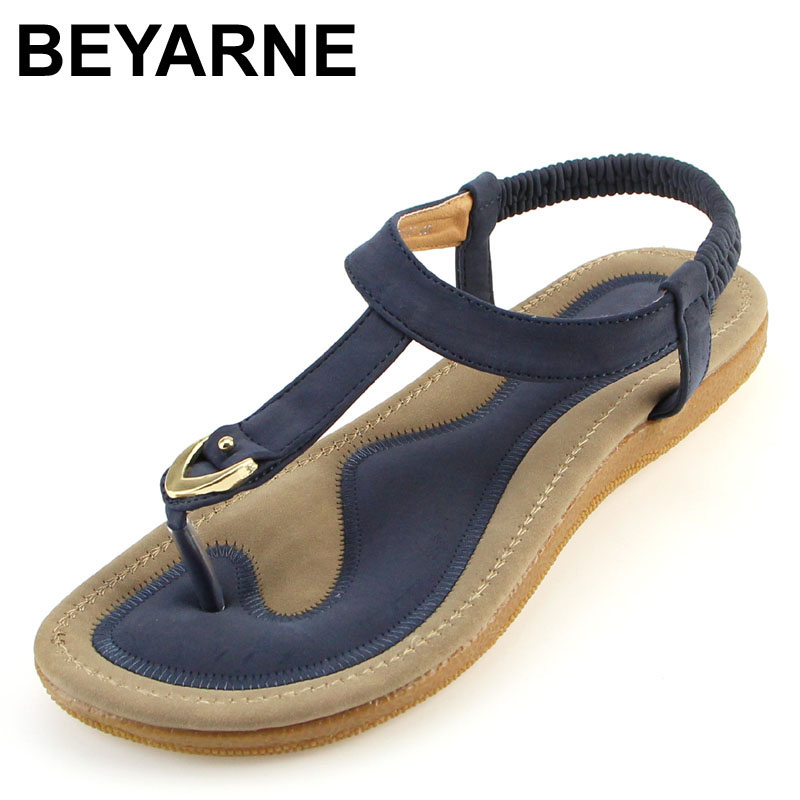BEYARNE size 35-42 new women sandal flat heel sandalias femininas summer casual single shoes woman soft bottom slippers sandals(China)