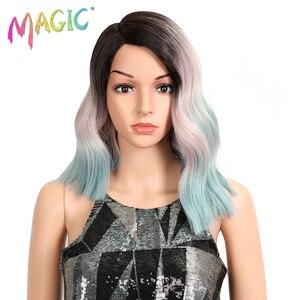 Image 1 - Волшебные короткие волнистые термостойкие парики, синтетические кружевные передние парики, 15 дюймов, средняя часть, безклеевые парики для черных женщин, плотность 150