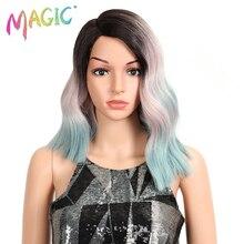 Pelucas mágicas de onda corta resistente al calor peluca sintética con malla frontal de 15 pulgadas, pelucas sin pegamento de parte media para mujeres negras, densidad del 150