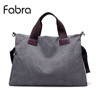 Fabra European Style Vintage Canvas Women Travel Bags Carry on Women Duffel Hand Bag Tote Large Weekend Big Bag Grey