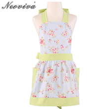 Фотография Neoviva Cotton Canvas Kitchen Apron for Kid Girls with Pockets, Style Little Diana, Floral Ballad Blue