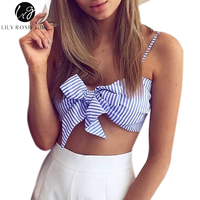 Blue Striped Bow Sleeveless Strap Crop Tops Retro Strappy Bra Sexy Party Girls Top Summer Women