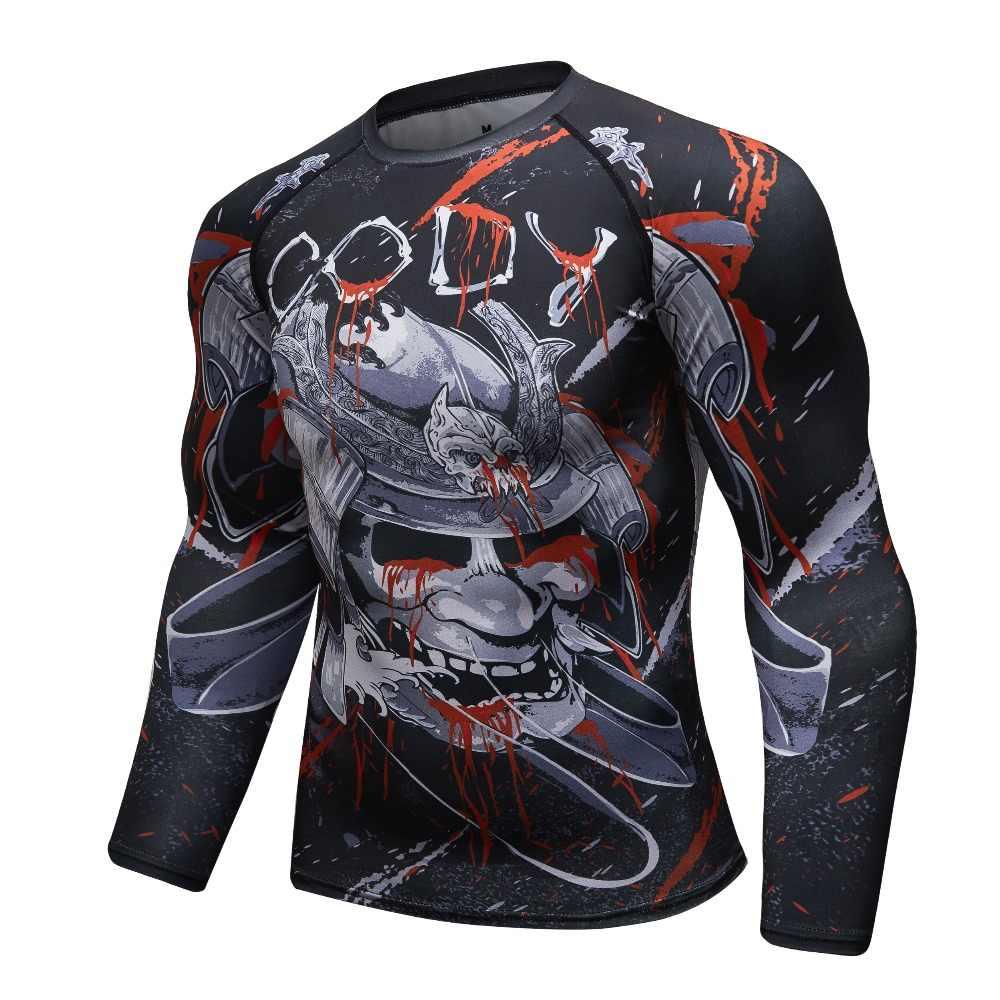 Novos Homens camiseta De Compressão 3D lobo cabeça de impressão Collants camisa MMA BJJ Rashguard aptidão Cruz fit Quick Dry Rash guarda t-shirt