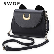 SWDF 2019 Handbag Black Cat Shape Chain Shoulder Bag For Travel PU Leather Women Messenger Crossbody Small Bags Sac Main Femme wellvo men pu leather travel duffle bag round bucket shape handle bag crossbody bags shoes storage handbag sac de voyagexa131wc