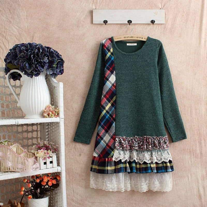 Autumn winter patchwork tunique ladies dresses crop top green dress vestidos casual cute cawaii maxi dresses long vetement femme