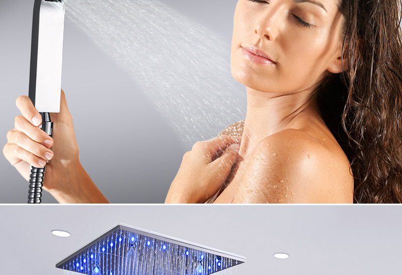 Luxury 20 Inches High Flow Stainless Steel Ceiling Shower Heads Thermostatic Mixer LED Shower Faucet (11)