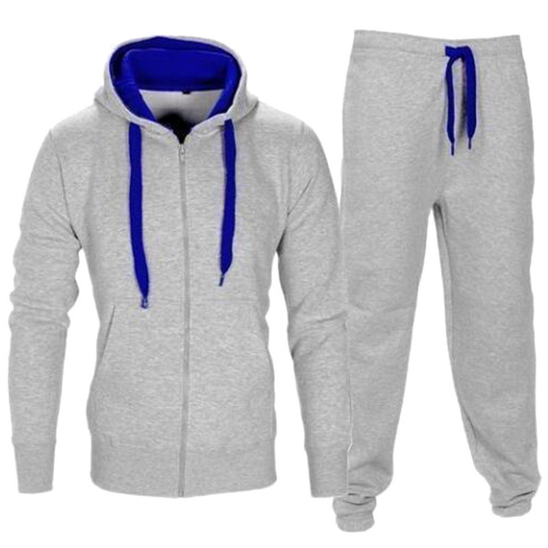 2018 Fitness Trainingsanzug Männer Herbst Sportwear Hoodies Hosen Herren Set 2 Stücke Zipper Mit Kapuze Sweatshirt Jacke Hose Moleton Masculino